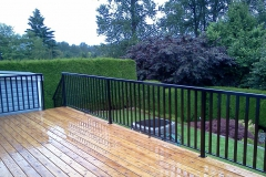 wide picket railings wood deck
