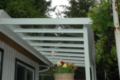 white aluminium glass frame patio cover