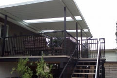 mission patio cover with railings