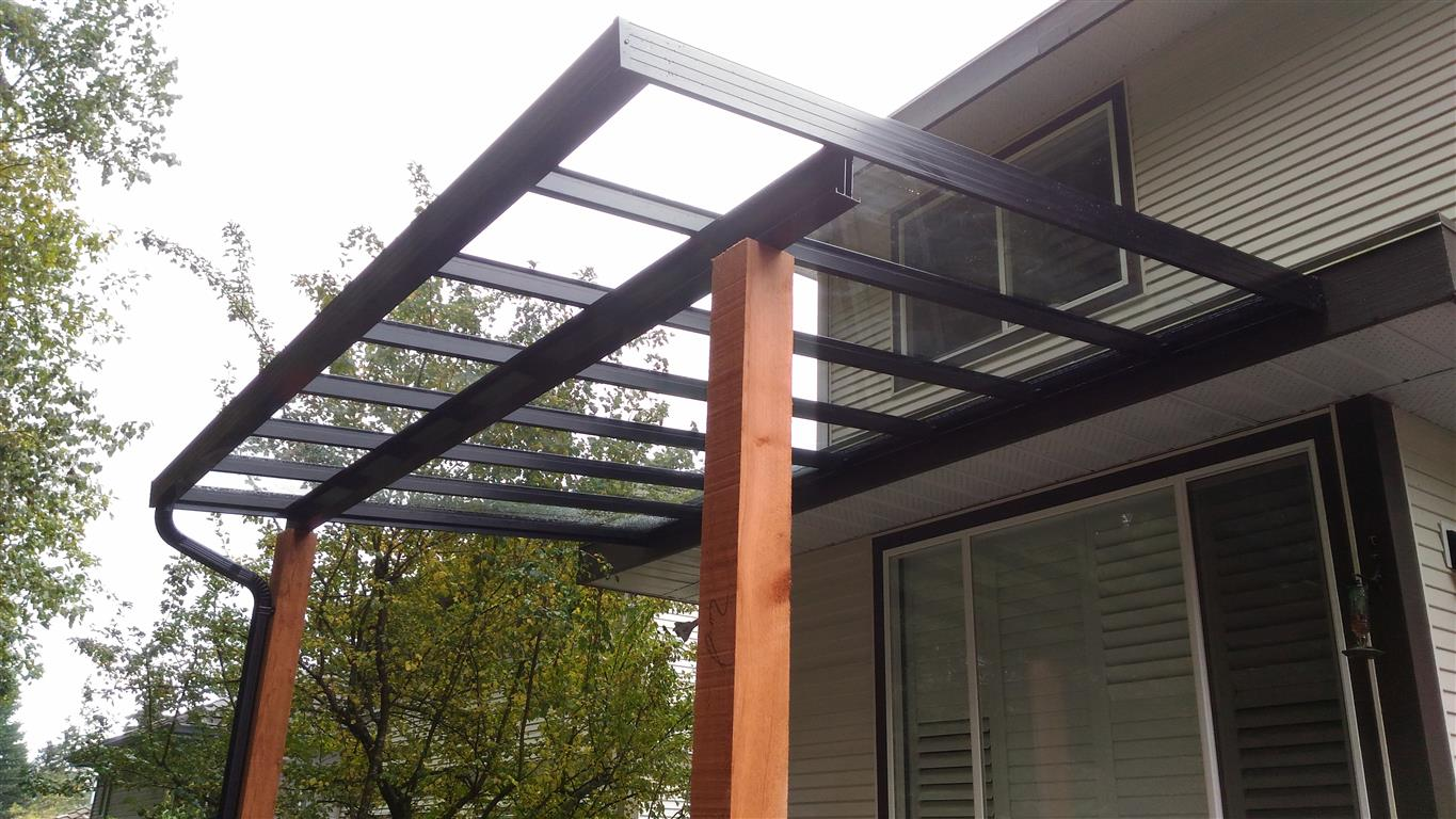 Coquitlam Glass Patio Cover Black Aluminium Frame With Wood Posts