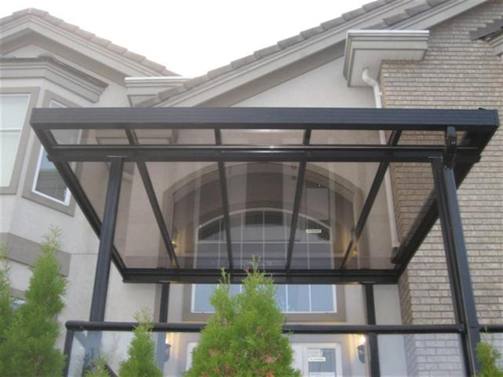 Glass and aluminum patio covers primeline industries maple for Glass awnings for home